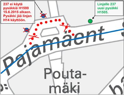 Pysäkin siirto Pajamäessä 15.6.2015