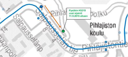 Pysäkki 3219 Salpausselänpolku siirretään 11.9.2015