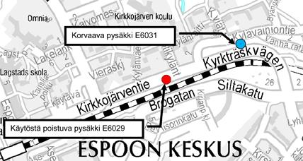 Pysäkki E6029 Kotikyläntie poistetaan käytöstä 14.9.2015