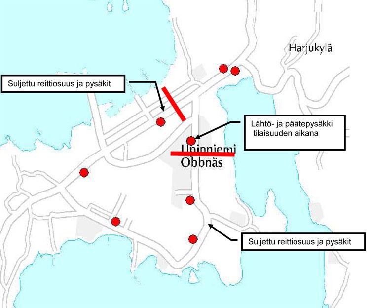 Linjan 173 pois jäävä osuus Upinniemessä 14. elokuuta.