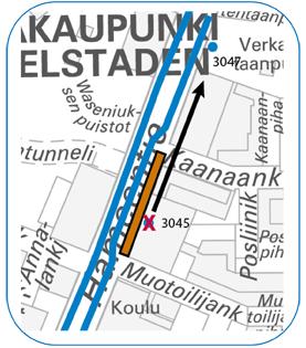 Hämeentien pysäkki 3045 pois käytöstä 10.3.-.10.4.