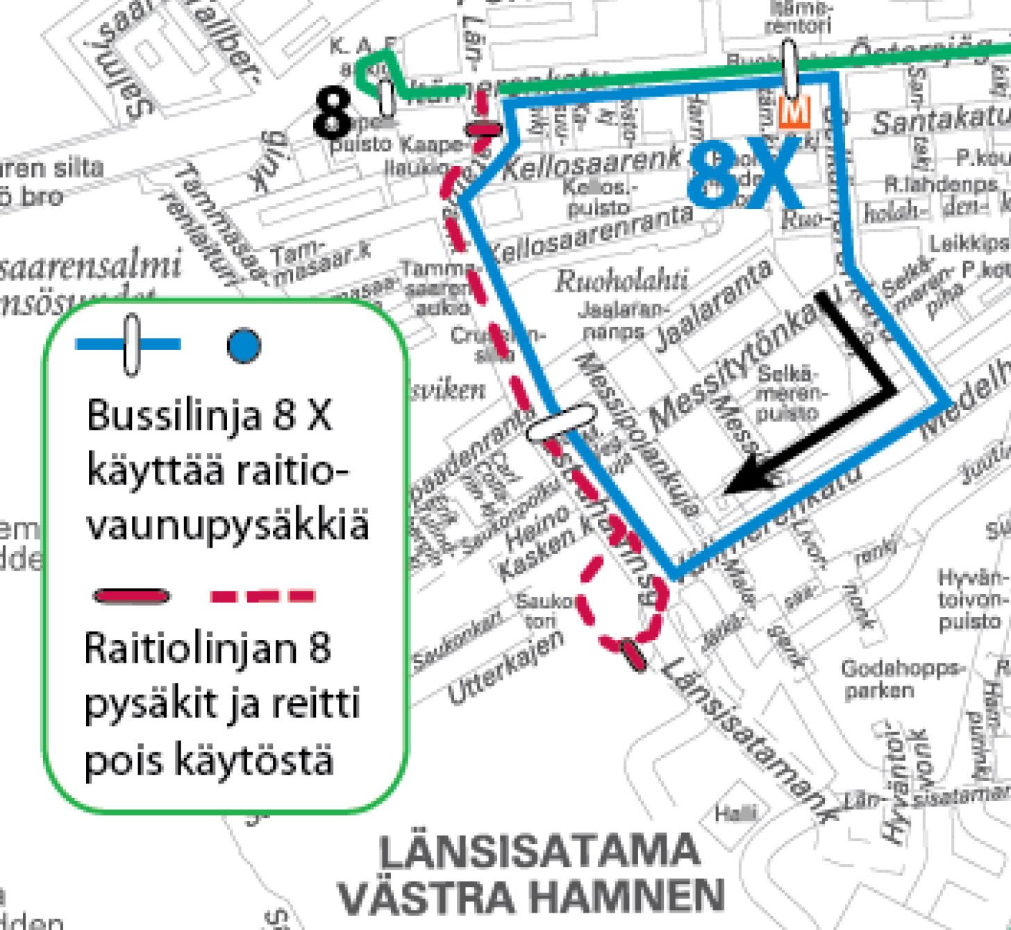 Raitiovaunu 8 ajaa vain Salmisaareen asti 2.-5.5.   HSL