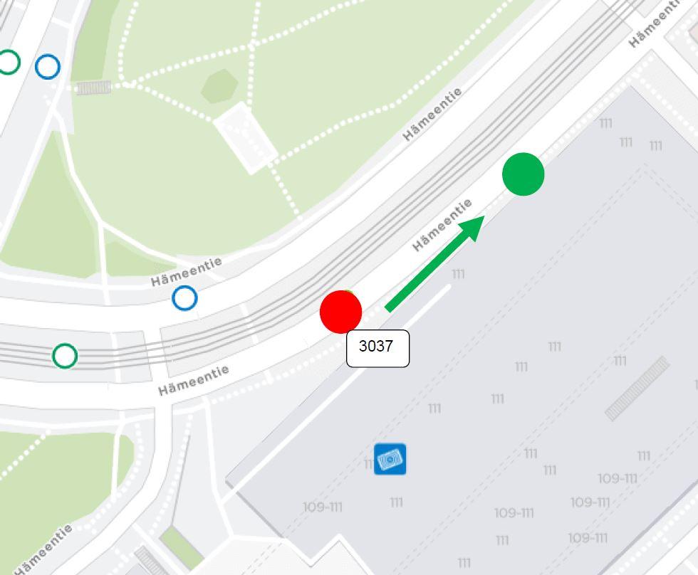 """Hämeentien nostotyön takia pysäkki (Kumpulan kampus) """"3037"""" siirtyy noin 50m."""