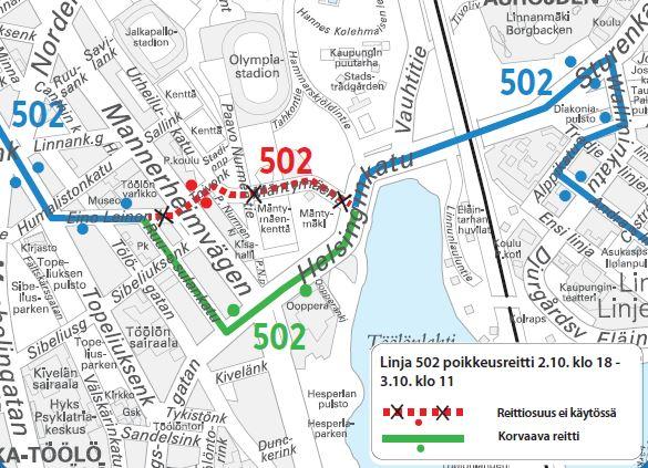 Kartta bussin 502 poikkeusreitistä Oopperan kautta perjantaista kello 18 lauantaihin kello 11