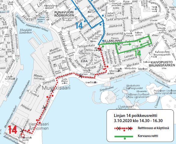 Kartta bussin 14 poikkeusreitistä