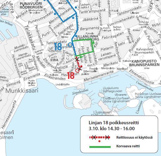 kartta bussin 18 poikkeusreitistä