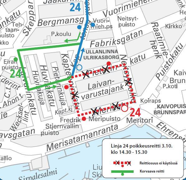 Kartta linjan 24 poikkusreitistä Ullanlinnassa iltapäivällä