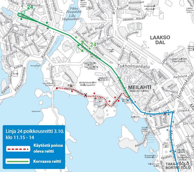 kartta bussin 24 poikkeusreitistä Munkkiniemeen päivällä