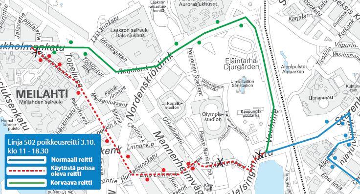Kartta linjan 502 poikkeusreitistä Eläintarhan kautta lauantaina alkaen kello 11