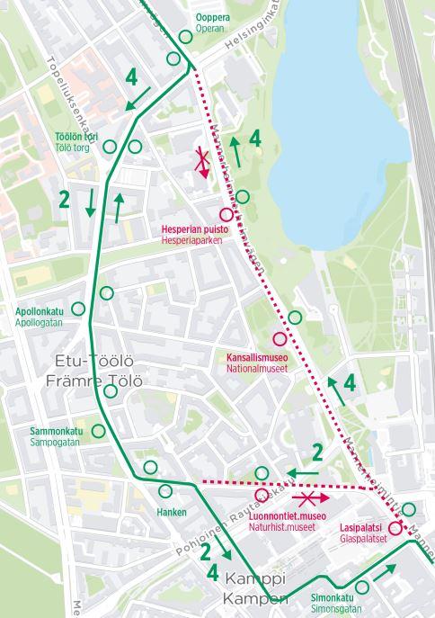 Kartta raitiolinjojen 2 ja 4 poikkeusreiteistä