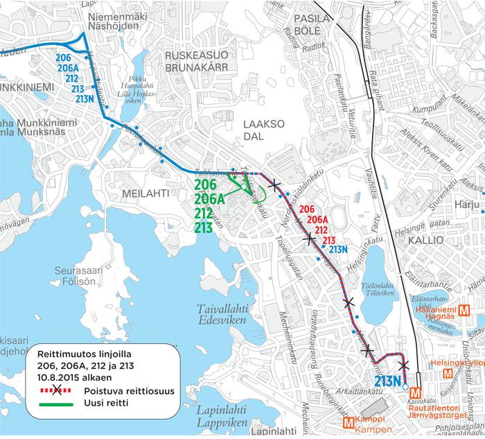 Linjojen 206, 206A, 212 ja 213 päätepysäkki siirtyy Meilahteen 10.8.