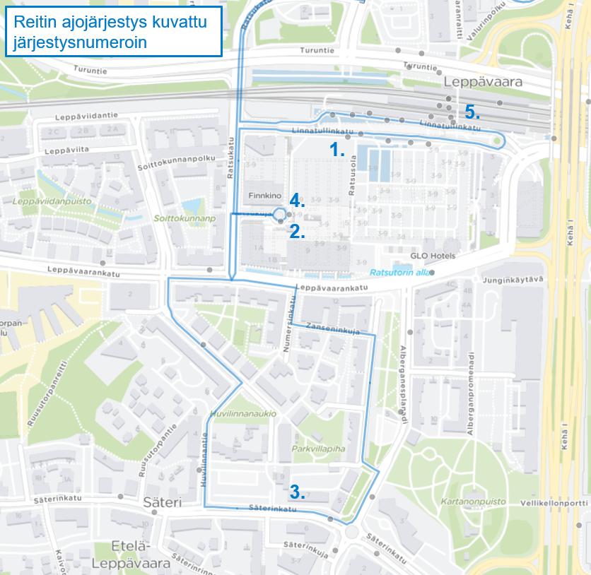 Kartta lähibussin 207 reitistä ja ajojärjestyksestä Etelä-Leppävaarassa
