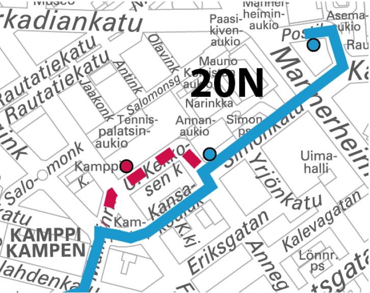 Linja 20N ajaa poikkeusreittiä Kampissa 11.-12.11. välisenä yönä klo 22-05