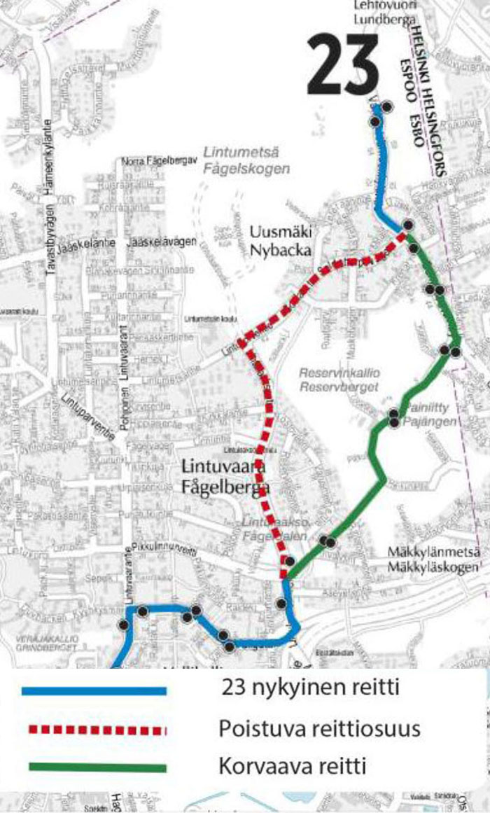 Linjan 23 uusi reitti 10.8. alkaen