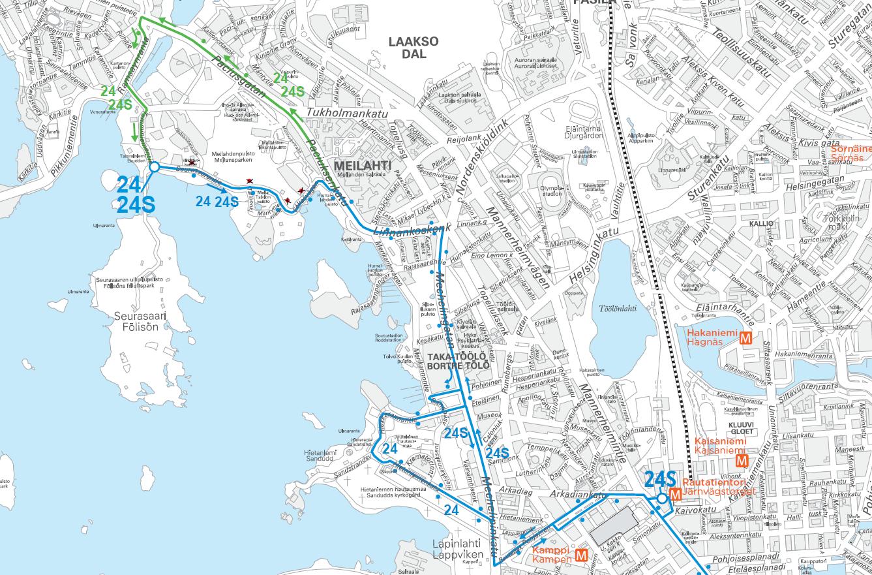 Karttakuva linjojen 24 ja 24S reitistä 15.12. klo 8-19
