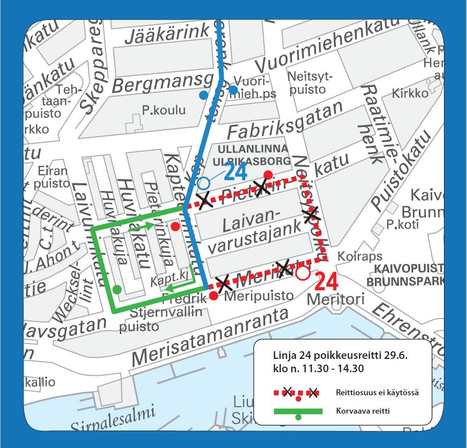 Bussi 24 poikkeusreitillä Eirassa 29.6. klo 11.30-14.30