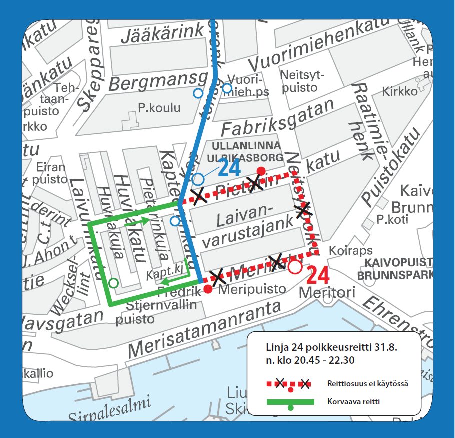 Linja 24 poikkeusreitillä Eirassa lauantaina 31.8. n. klo 20.30-22.30