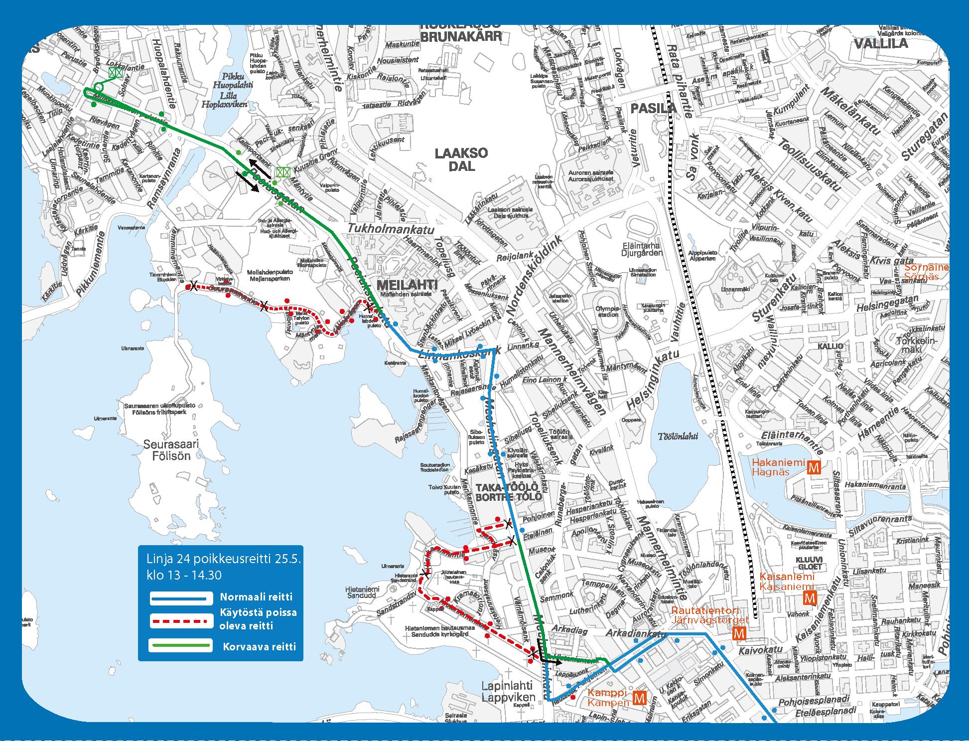 Hietaniemen ja Seurasaaren reittiosuudet on suljettu liikenteeltä n. klo 13 – 14.30. Tuolloin linja 24 ajetaan suoraan Mechelininkatua, Paciuksenkatua ja Munkkiniemen puistotietä Laajalahden aukion pysäkille (H1401).