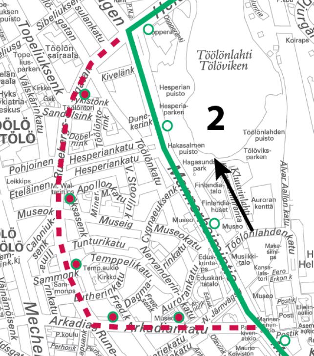 2 ajaa suoraan Mannerheimintietä 14.-15.10. klo 24 alkaen