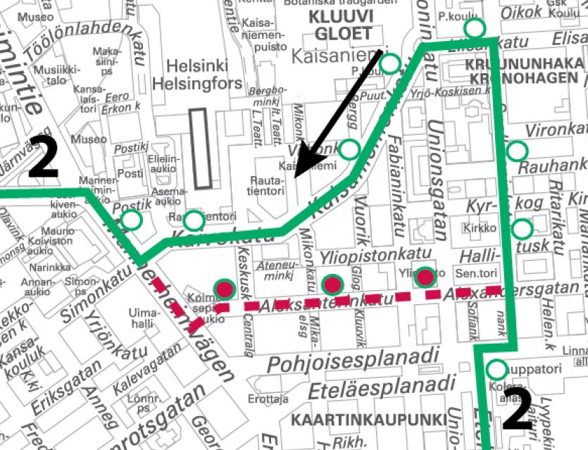 Linja 2 poikkeusreitillä 21.-22.10. ja 22.-23.10. välisinä öinä klo 22 alkaen