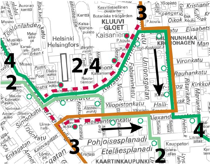 Raitiolinjat 2, 3 ja 4 poikkeusreiteillä 13.-14.5. välisenä yönä.