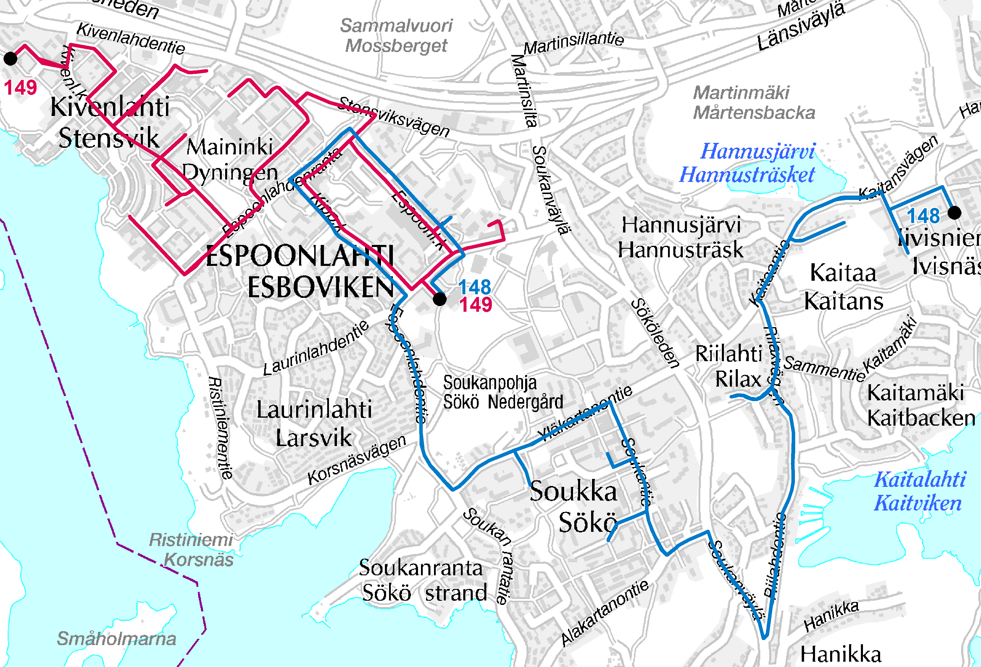 Lähibussit Espoonlahden alueella 15.8.2016 alkaen