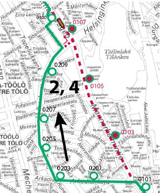 Ajetaan linjan 1 reittiä Ruusulankadulle asti, josta Töölön hallin pihan kautta normaalireitille.