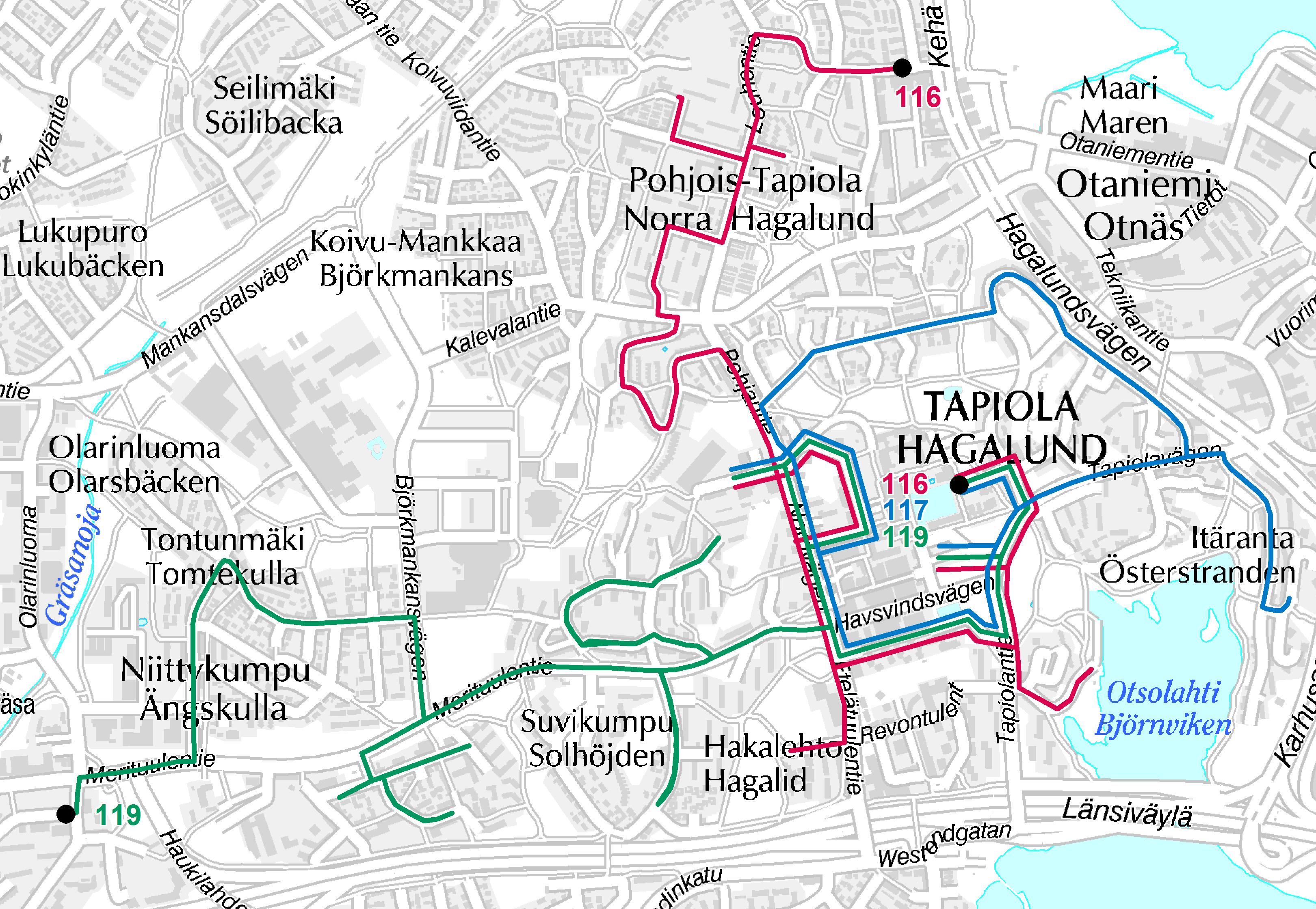 Lähibussit Tapiolan alueella 15.8.2016 alkaen