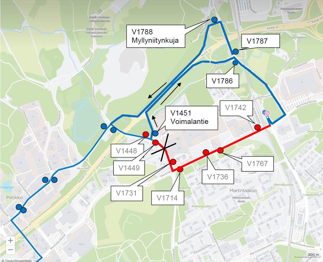 Linja 322 ajaa poikkeusreittiä Martinlaaksossa 22.-26.7.