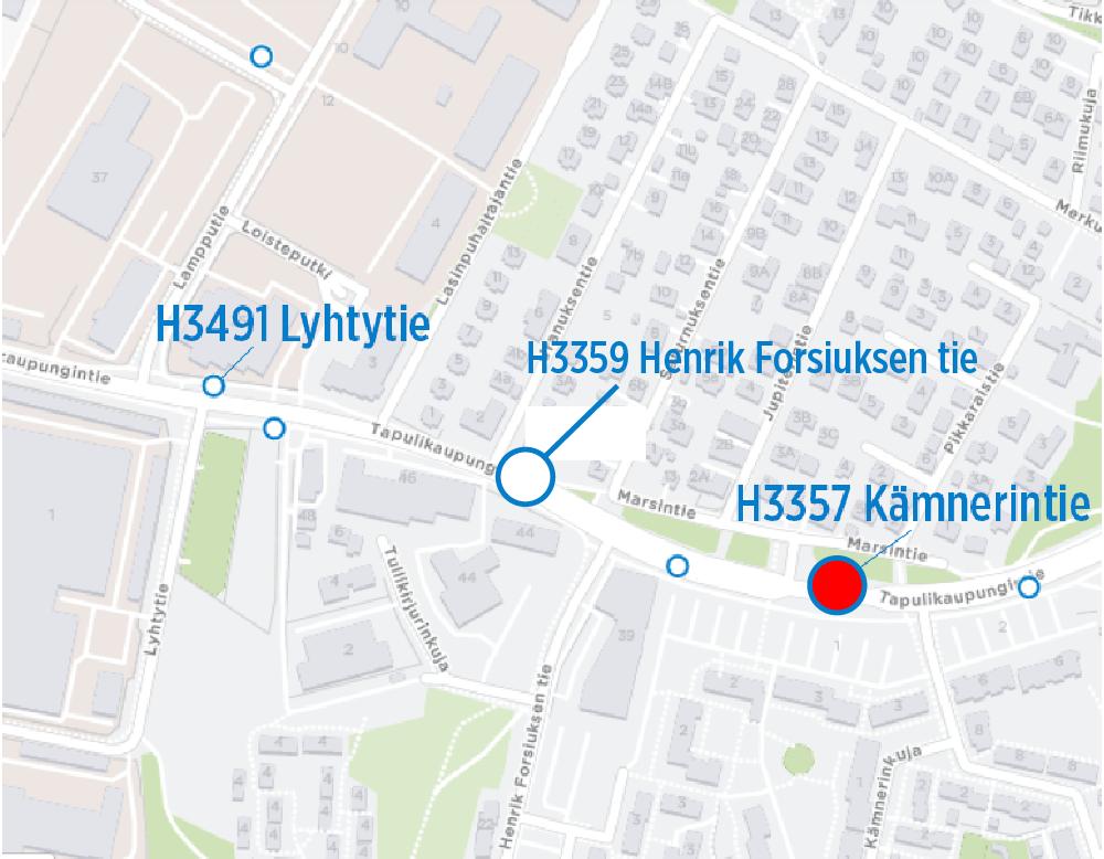 H3357 Kämnerintie poistuu käytöstä 3.7. alkaen