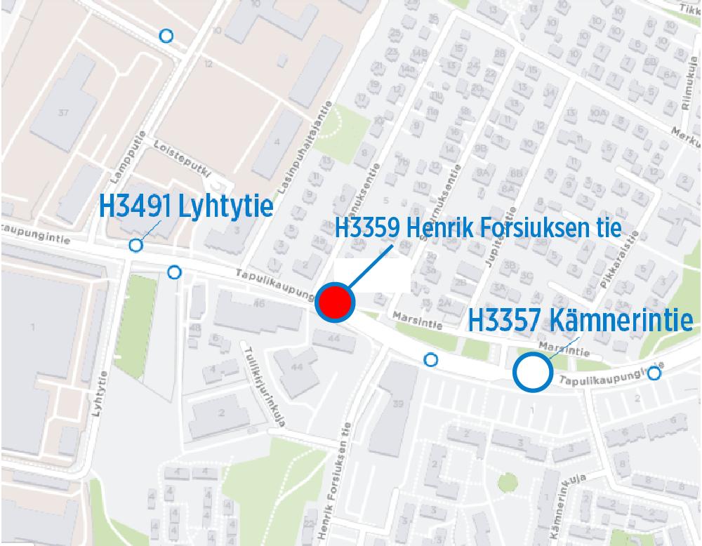 H3359 Henrik Forsiuksen tie suljetaan torstaina 8.8.