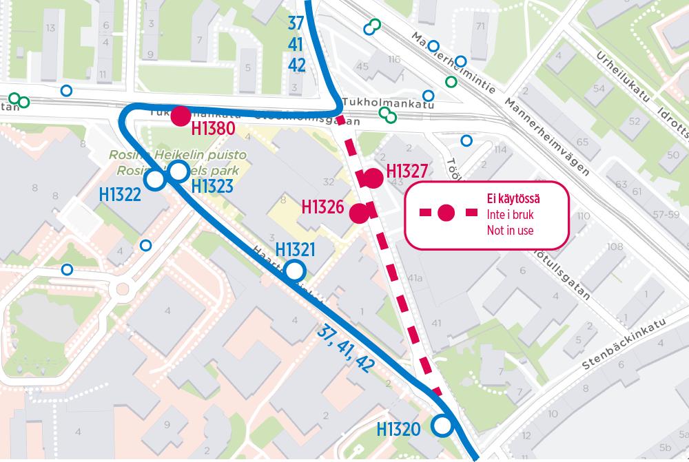 Linjat 37, 41 ja 42 poikkeusreitillä Meilahdessa öisin 10.-14.6. klo 21-05