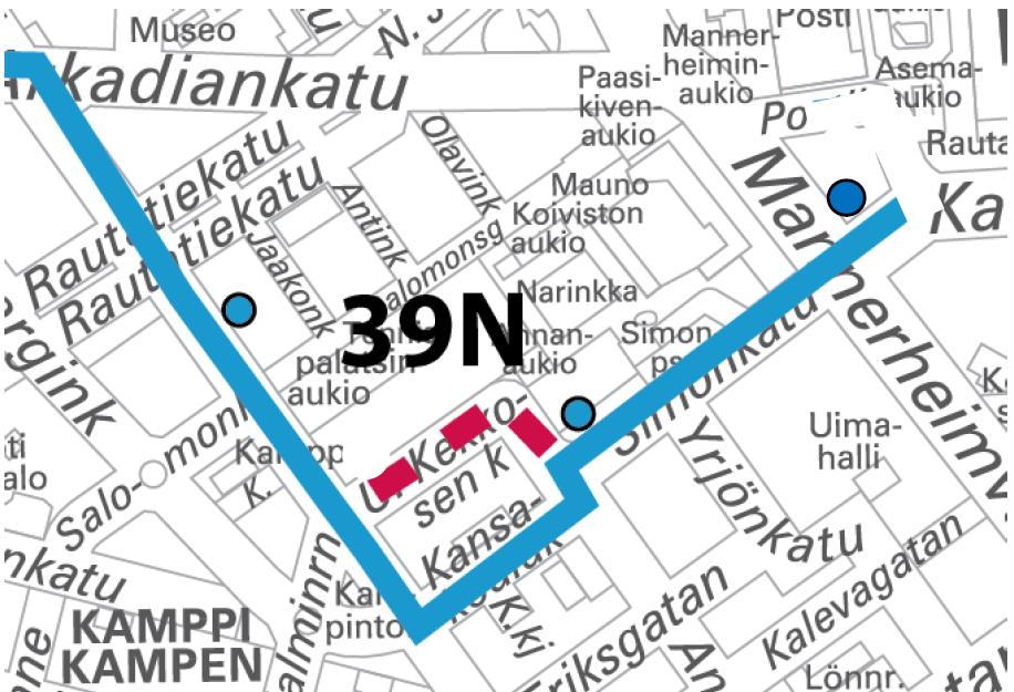 Karttakuva linjan 39N poikkeusreitistä