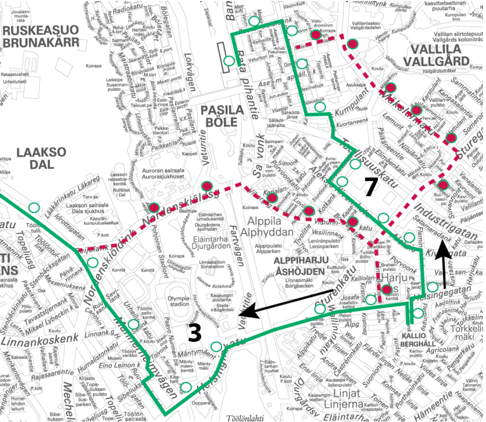 Raitiolinjat 3 ja 7 ajavat poikkeusreittiä 21.-22.10. välisenä yönä klo 24 alkaen
