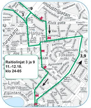 Raitiolinjat 3 ja 9 ajavat Hämeentien kautta pohjoiseen 11.-12.10.2015