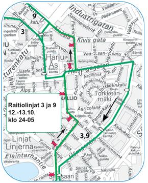 Raitiolinjat 3 ja 9 ajavat Hämeentien kautta etelään 12.-13.10.2015