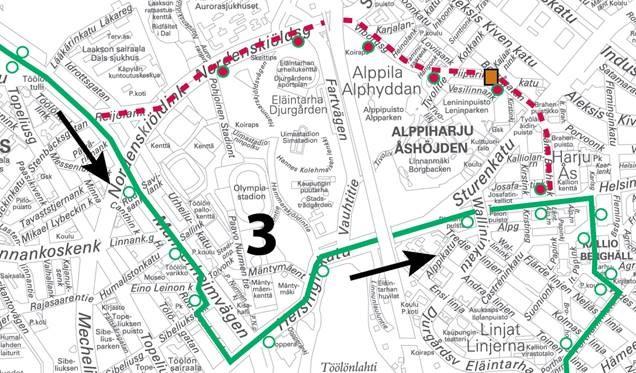 Linja ajaa Töölön tullin jälkeen poikkeusreittiä suoraan Mannerheimintietä Töölön hallin kautta Helsinginkadulle ja omalle reitilleen