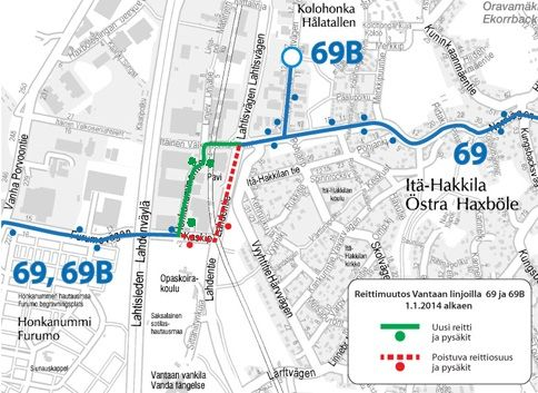 Linjan V69,B uusi reitti 1.1.2014