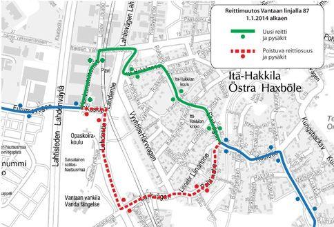 Linjan 87 uusi reitti 1.1.2013