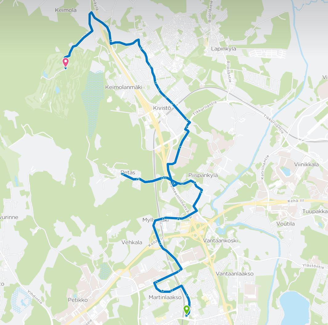 Linjan 432 reitti kartalla