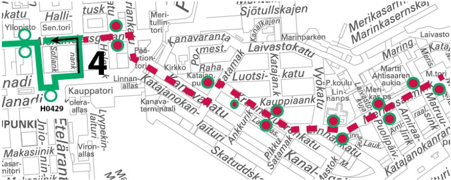 Raitiolinja 4 kääntyy Kauppatorilla 14.-15.5. välisenä yönä klo 23 alkaen. Katajanokka jää ajamatta.