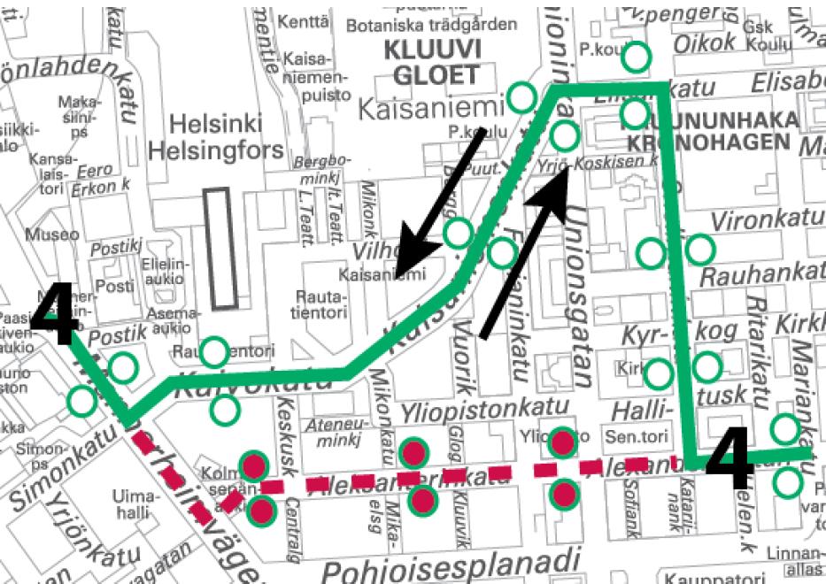 Linja 4 poikkeusreitillä 21.-22.10. ja 22.-23.10. välisinä öinä klo 22 alkaen