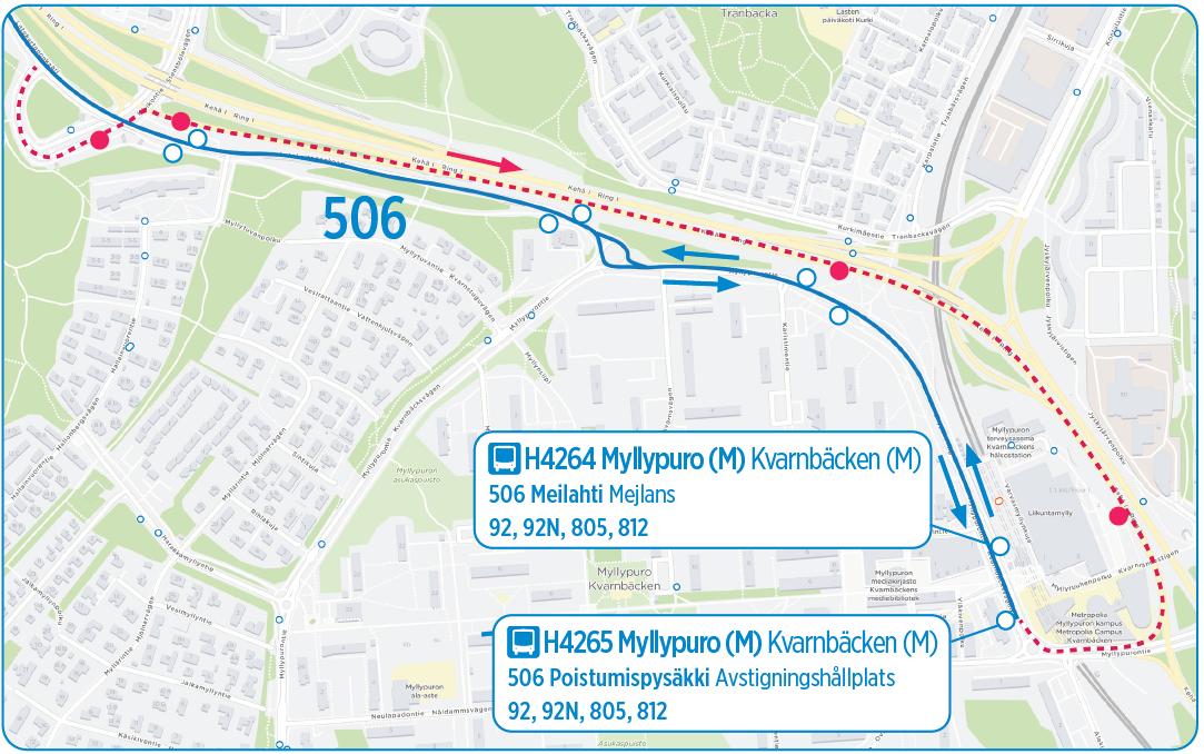 Karttakuva bussilinjan 506 uudesta reitistä Myllypurossa 1.1. alkaen