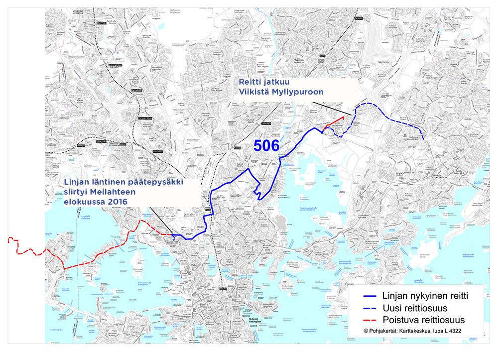 Linjan 506 reitti 14.8.2017 alkaen