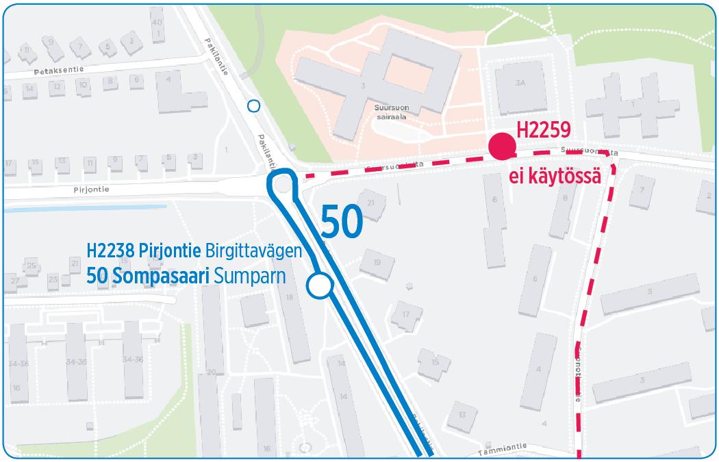 Linja 50 poikkeusreitillä Maunulassa öinä 26.-27.8. ja 27.-28.8. klo 18-05