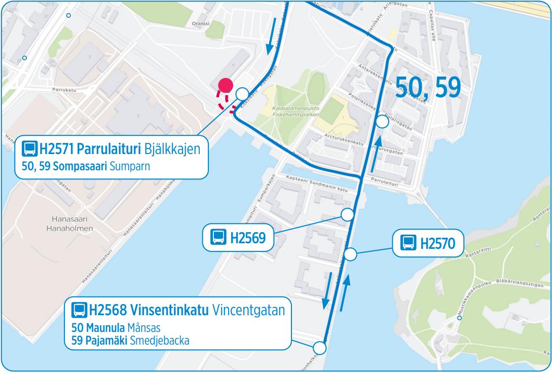 Karttakuva linjojen 50 ja 59 uudesta reitistä Sompasaareen 1.1. alkaen