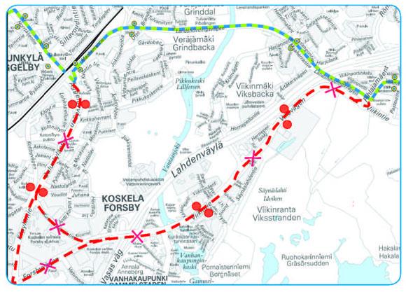 Bussin 550 reittikartta Oulunkylä-Viikki