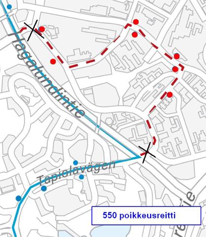Linja 550 poikkeusreitillä Otaniemessä 19.9.2015