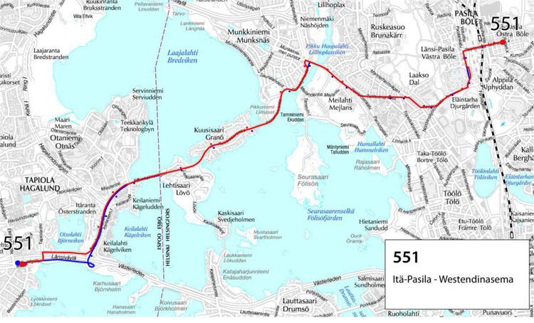 Linjan 551 reitti 10.8. alkaen