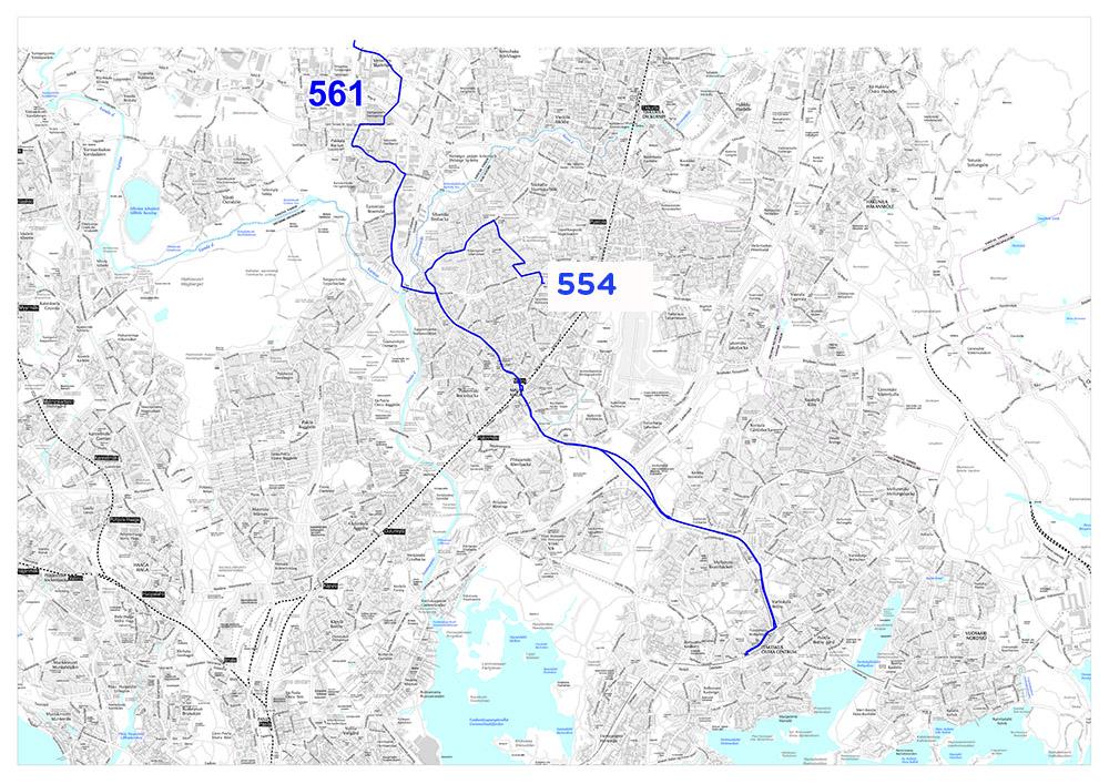 Linjojen 554 ja 561 reitit 14.8.2017 alkaen